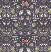 Lewis & Irene - Winter Garden - 6197 - Winter Floral & Moths on Charcoal - A316.3 - Cotton Fabric